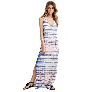 NWT Forever 21 Striped Watercolor Long Maxi Dress